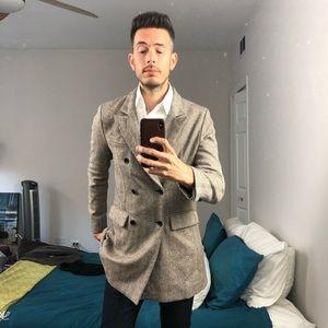 Men's Wool Herringbone Long Coat   Fall Jacket
